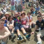 The gang enjoying the sun whilst waiting for bombay bicycle club